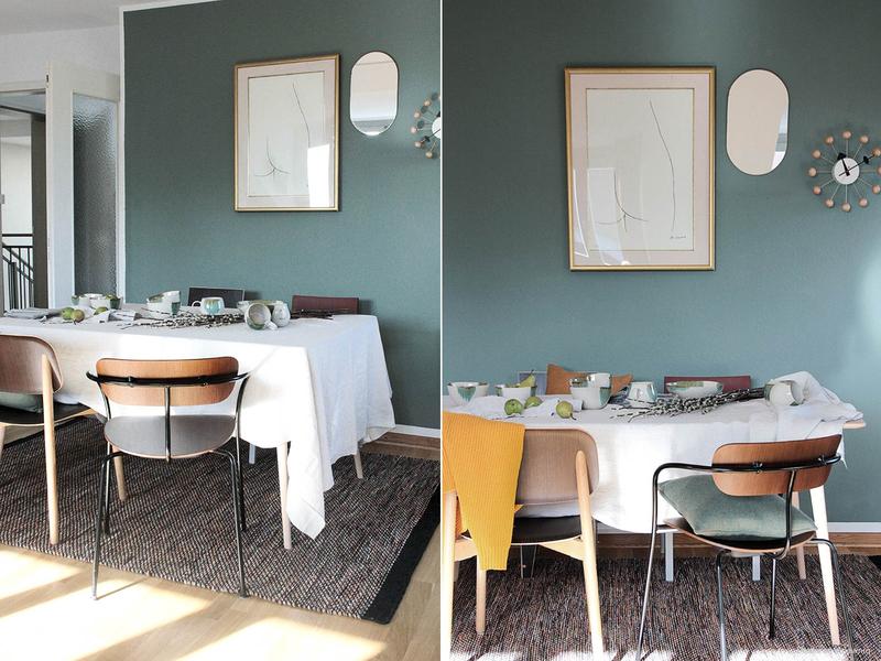 Weiß und Grün als Kombination für die Wände im Esszimmer.