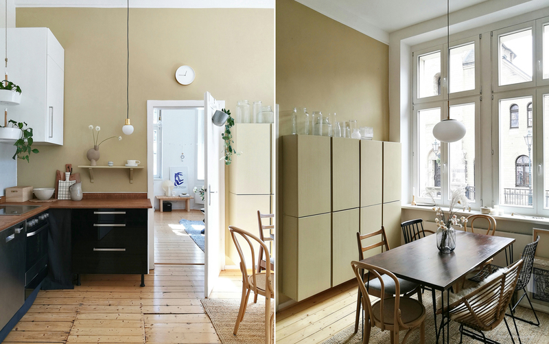 Braun-Beige als Wandfarbe an den Wänden in der Küche.