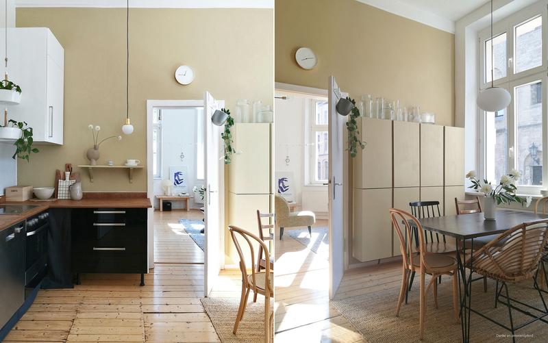 Beige und Weiß als Farbkombination in der Küche.