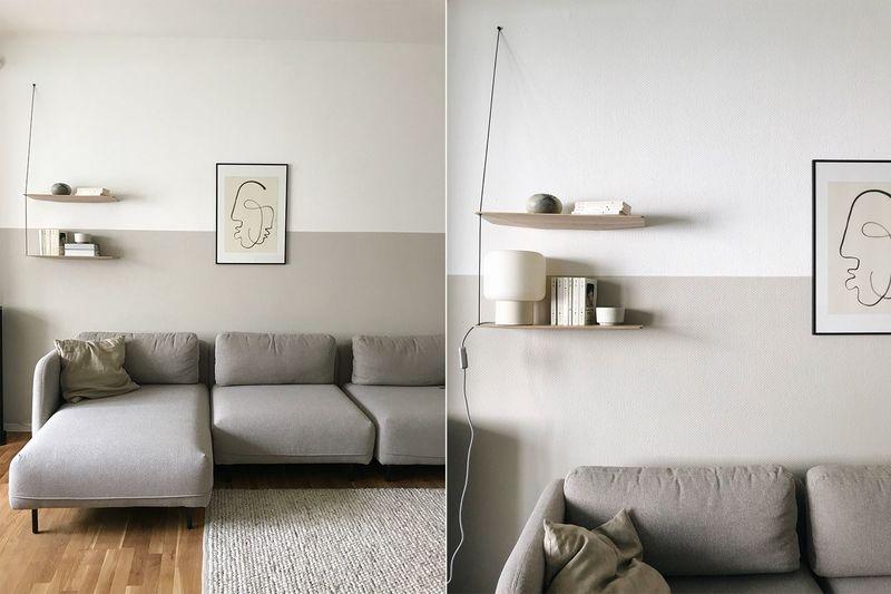 Beige und Weiß als Wandfarben im Wohnzimmer.