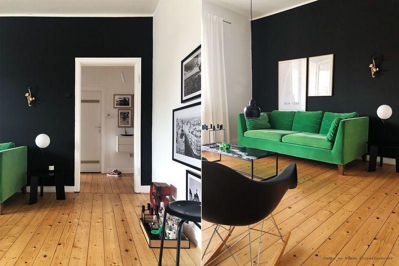 Wandfarbe in Tiefschwarz im Wohnzimmer.