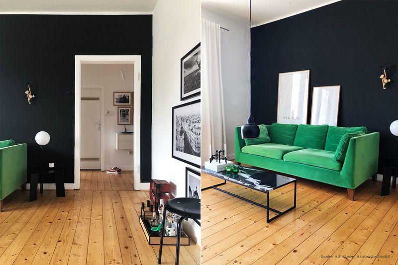 Farbfreude: Simóns Wohnzimmer in Tiefschwarz - Kolorat