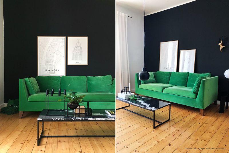 Schwarze Wandfarbe im Wohnzimmer.