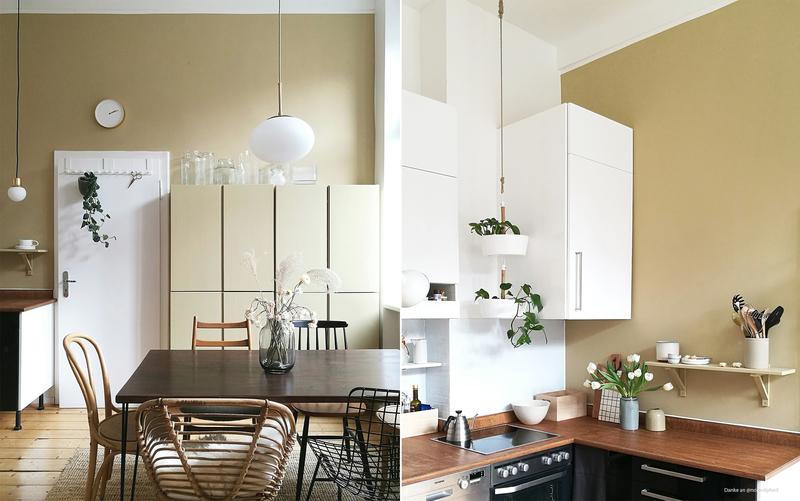 Braun-Beige als Wandfarbe für die Küche.