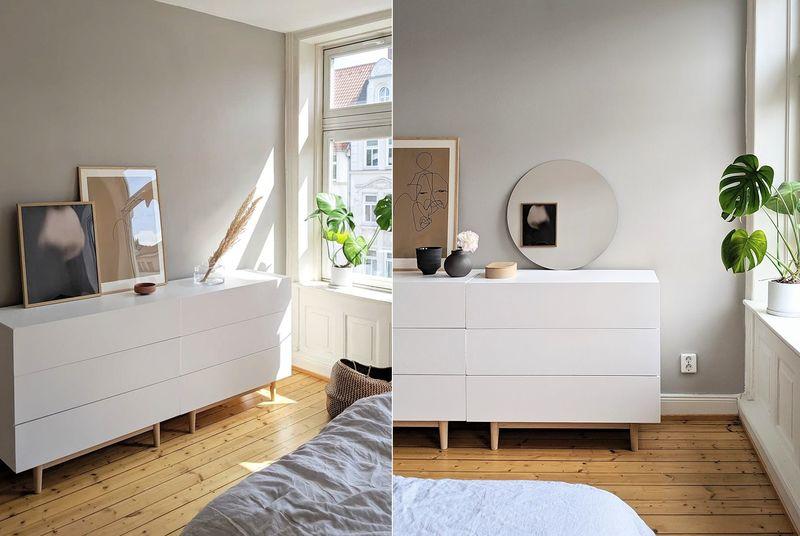 Grau-Braun als Wandfarbe im Schlafzimmer.