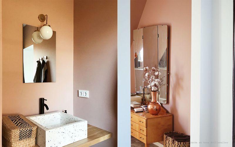 Nude als Wandfarbe in Bad und Ankleidezimmer.