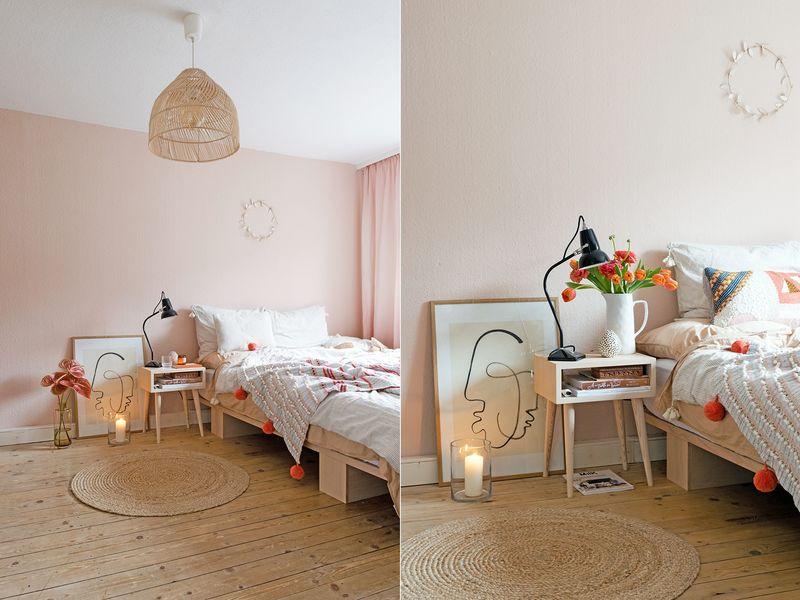 Blush als Wandfarbe im Schlafzimmer.