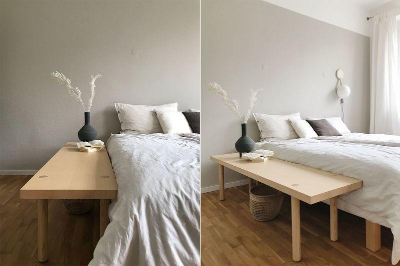 Beige als Wandfarbe im Schlafzimmer.