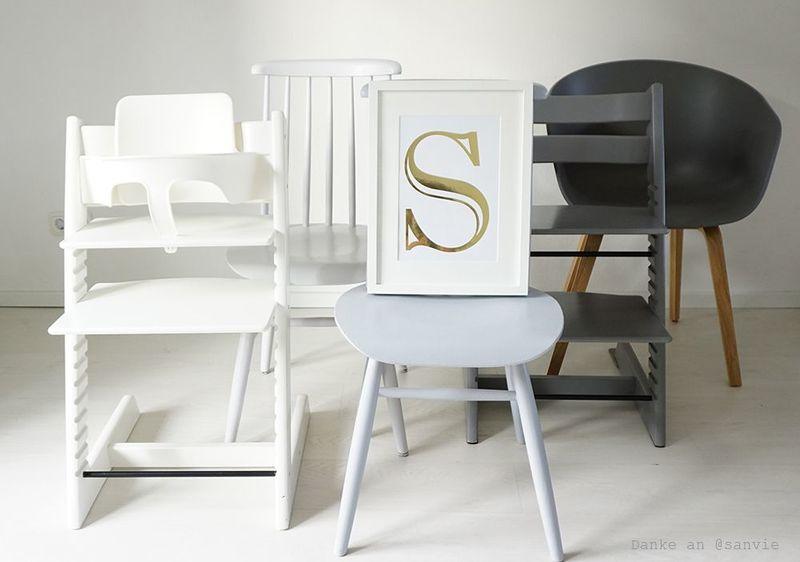 Stühle lackieren in Weiß, Grau oder Schwarz.