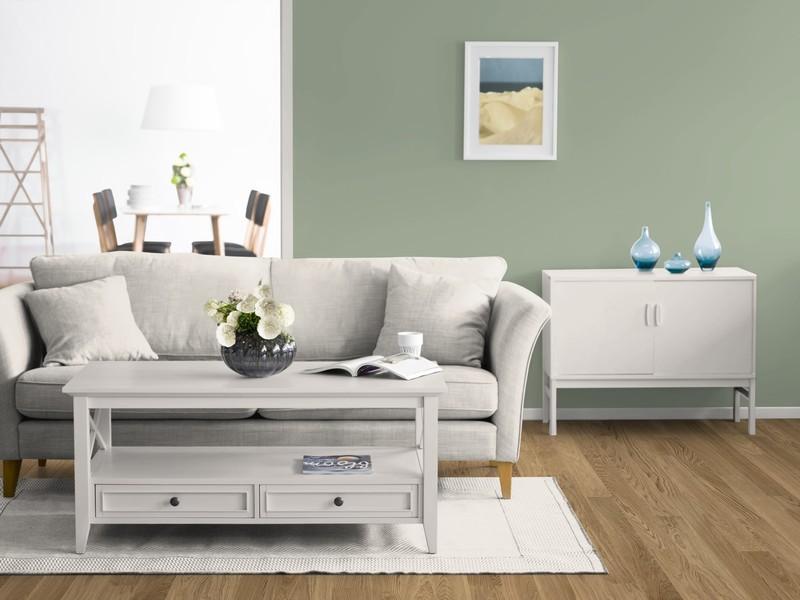 Ein Wohnzimmer Mit Der Wandfarbe Salbei.