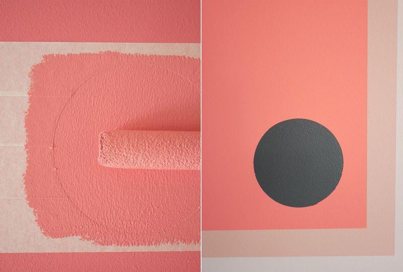 Wandgestaltung. Einen saubere Farbkante.
