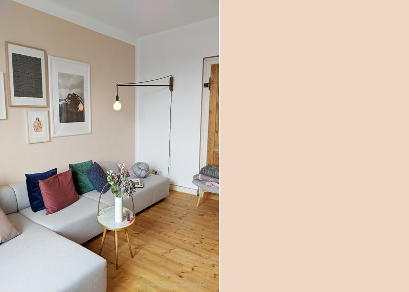 Wohnzimmer in warmen Beigetoenen
