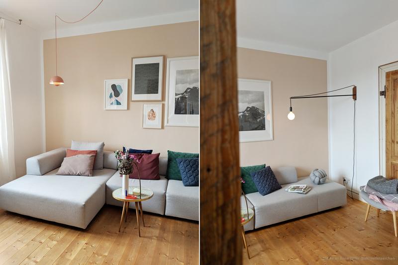 Wohnzimmer mit einer Wand in Beige.