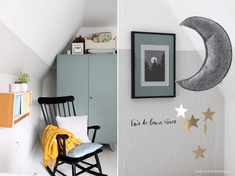 Kinderzimmer mit einer Wand in Graubeige.