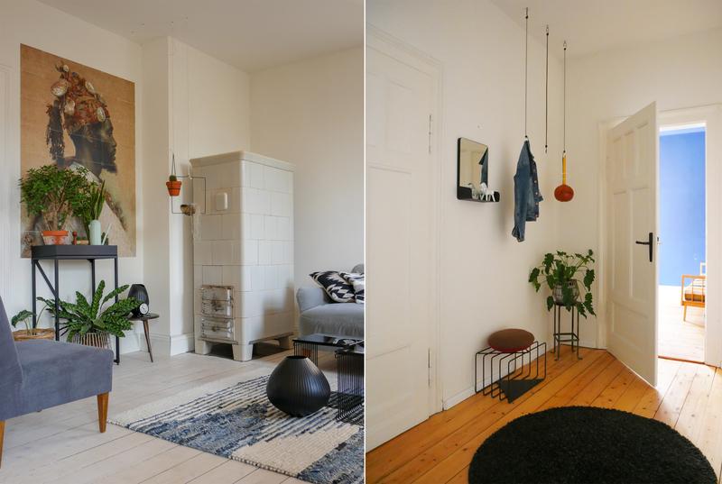 Wohnzimmer und Flur in Creme-Weiß.