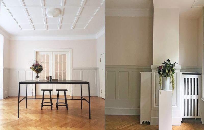 Kombination von Weiß und Pastell im Esszimmer.