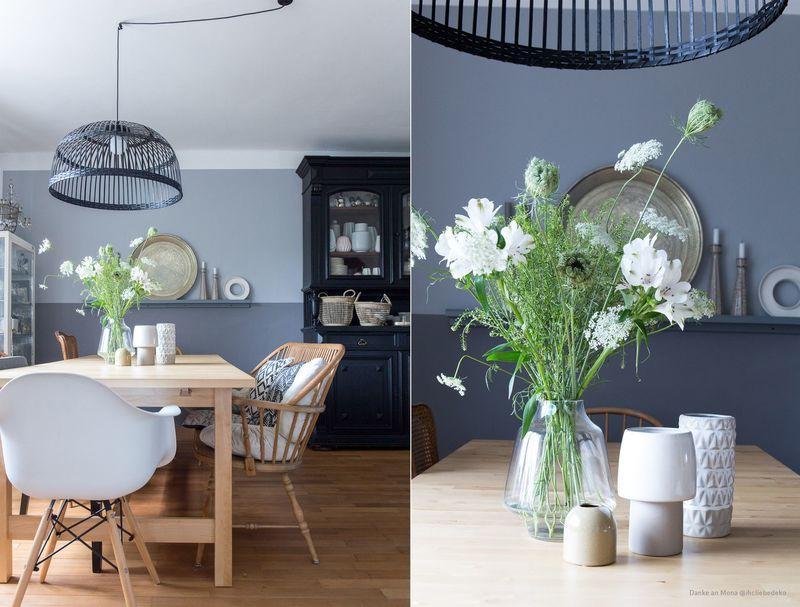 Wandfarbe Taubenblau in der Küche.