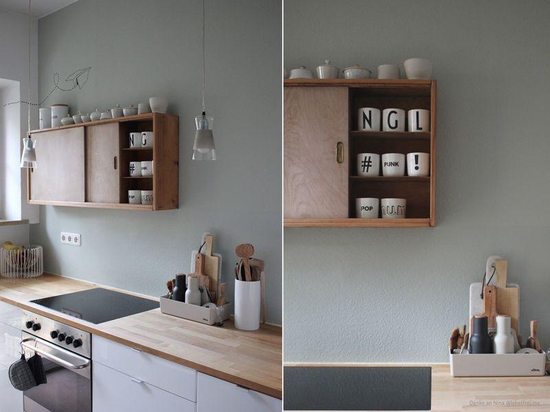 Wandfarbe Salbeigrün in der Küche.