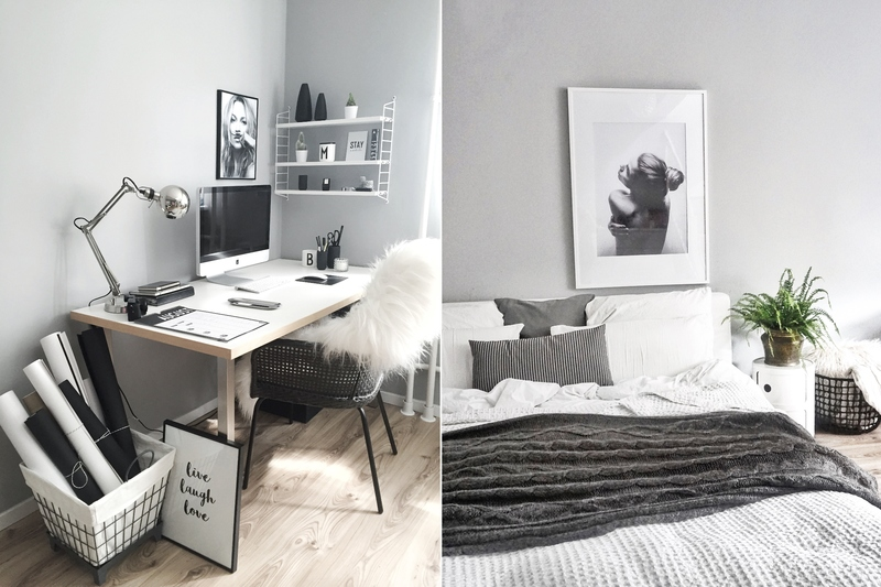 Wandfarbe Hellgrau Im Arbeits Und Schlafzimmer