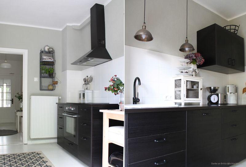 Grün-Grau als Wandfarbe in der Küche.