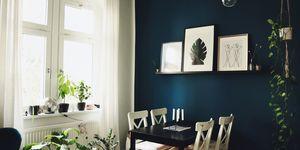 wandfarbe dunkelblau kolorat. Black Bedroom Furniture Sets. Home Design Ideas