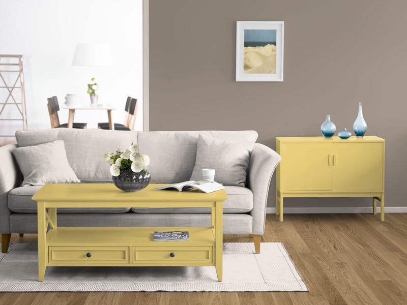 Das Kolorat Zimmer Mit Brauner Wandfarbe Und Gelben Möbeln.