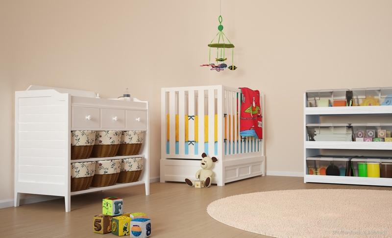 Beige Wandfarbe im Kinderzimmer.