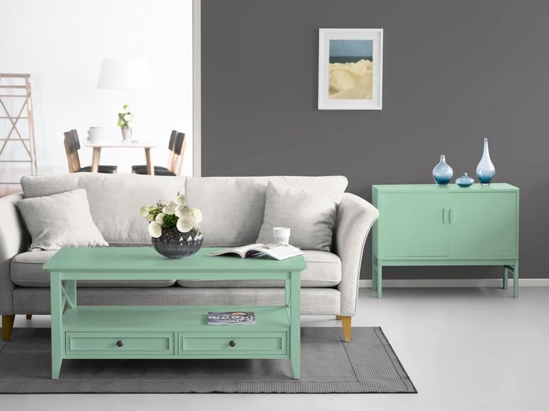 Dunkelgraue Wand Kombiniert Mit Mintgrün. Konfiguriere Deine Farbe