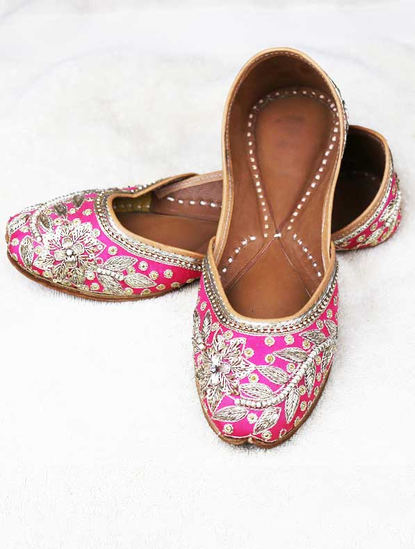 Genuine Leather Khussa in Pink