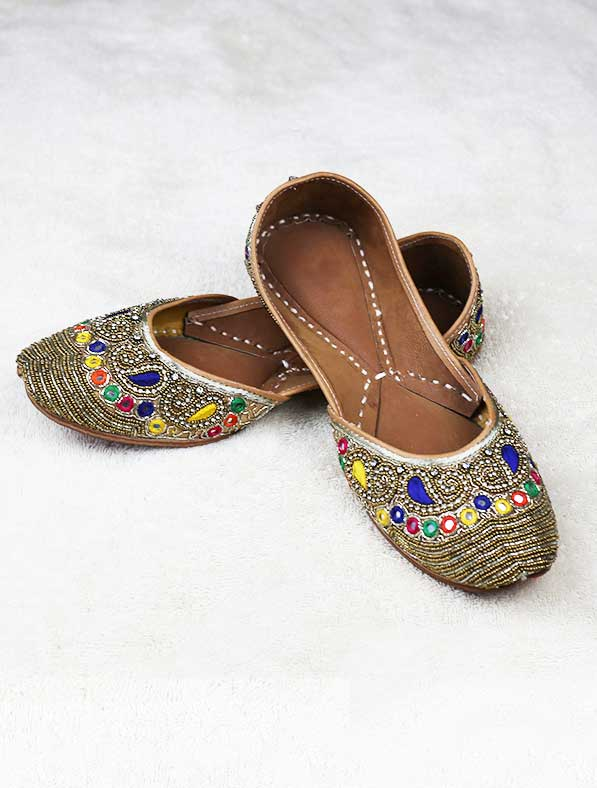 Fancy Genuine Leather Khussa in Multi color