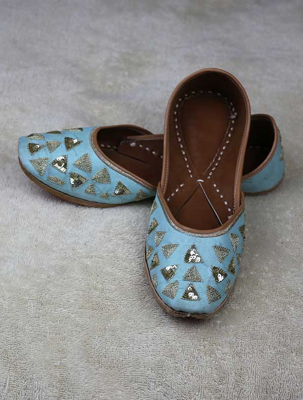 Genuine Leather Khussa in Ocean Blue