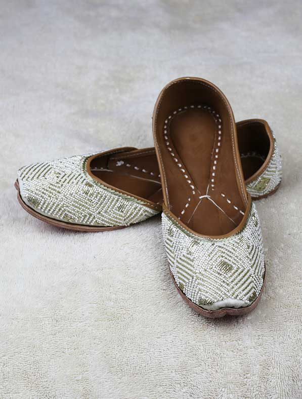 Genuine Leather Khussa in White