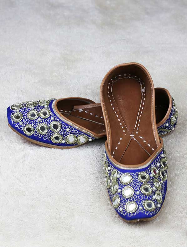 Genuine Leather Khussa in Blue