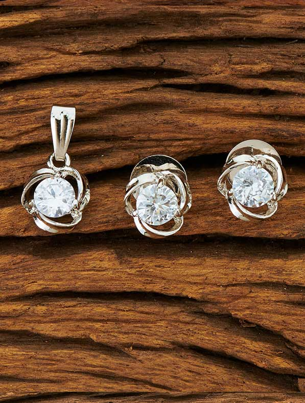 CZ Delicate Pendant Set With Rhodium Plating
