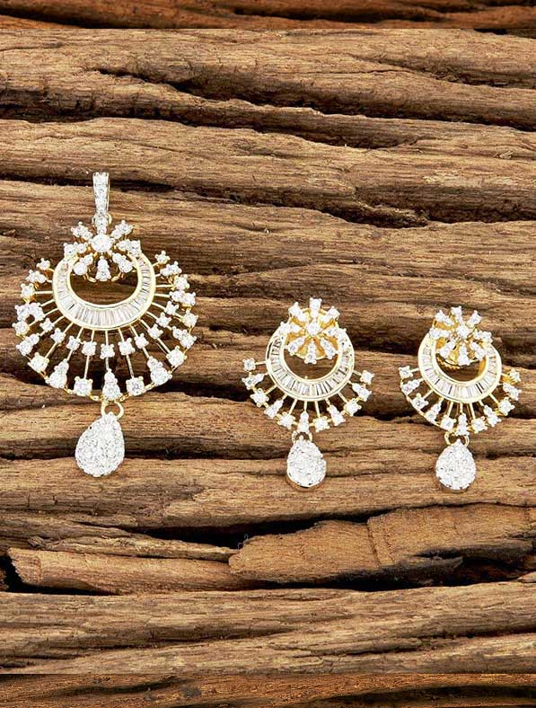 CZ Classic Pendant Set With Gold Plating