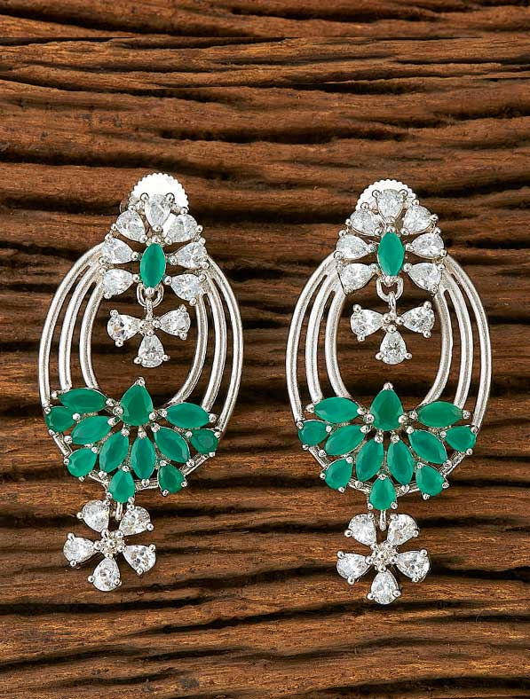 CZ Classic Earring With Rhodium Plating