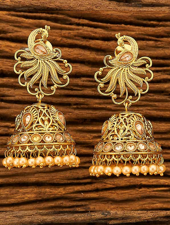 Antique Peacock Earring With Gold Plating