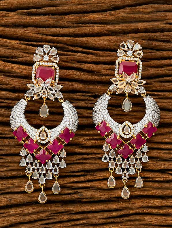 CZ Classic Earring With 2 Tone Plating
