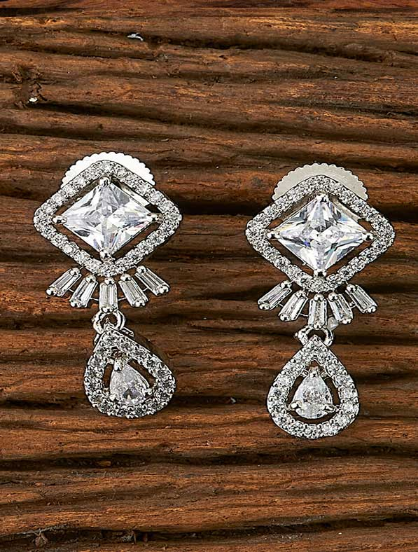 CZ Short Earring With Rhodium Plating