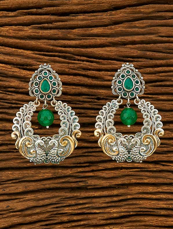 IndoWestern 2 Tone Plated Peacock Earring