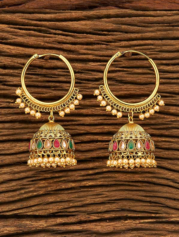 Antique Jhumkis With Gold Plating