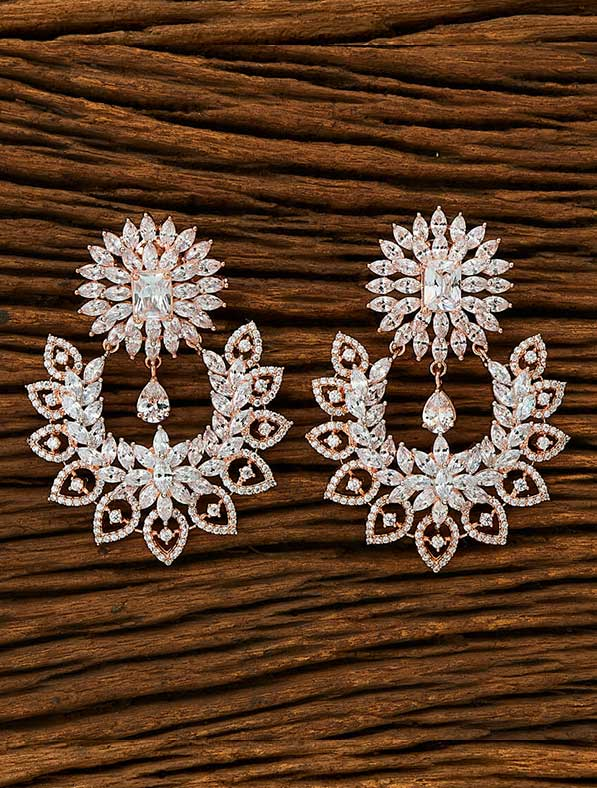 CZ Classic Earring With Rose Gold Plating