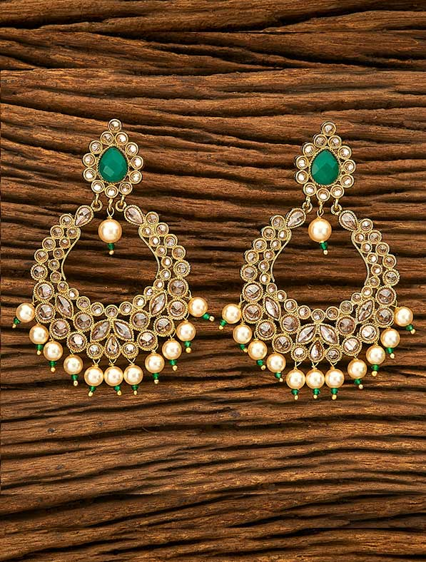 Antique Chand Earring With Mehendi Plating