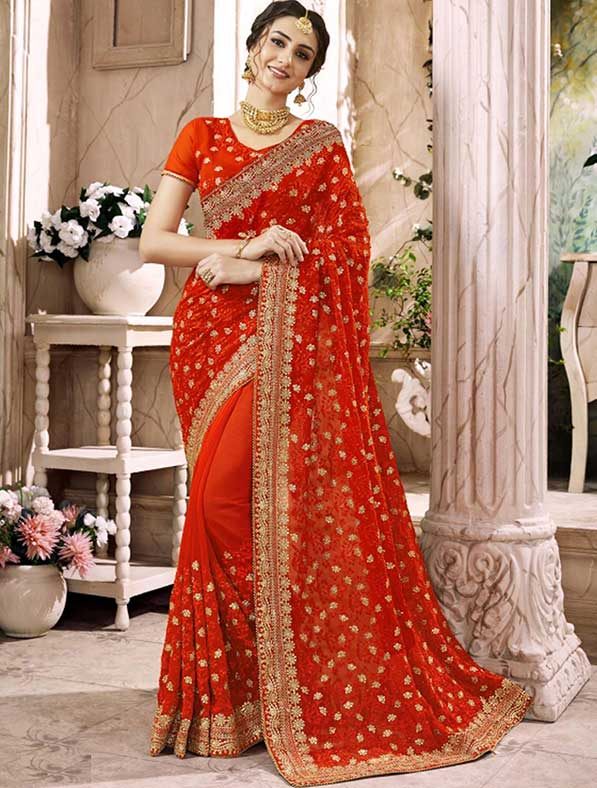 Georgette Lace Bridal Designer Saree