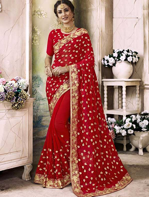 Georgette Embroidered Bridal Saree