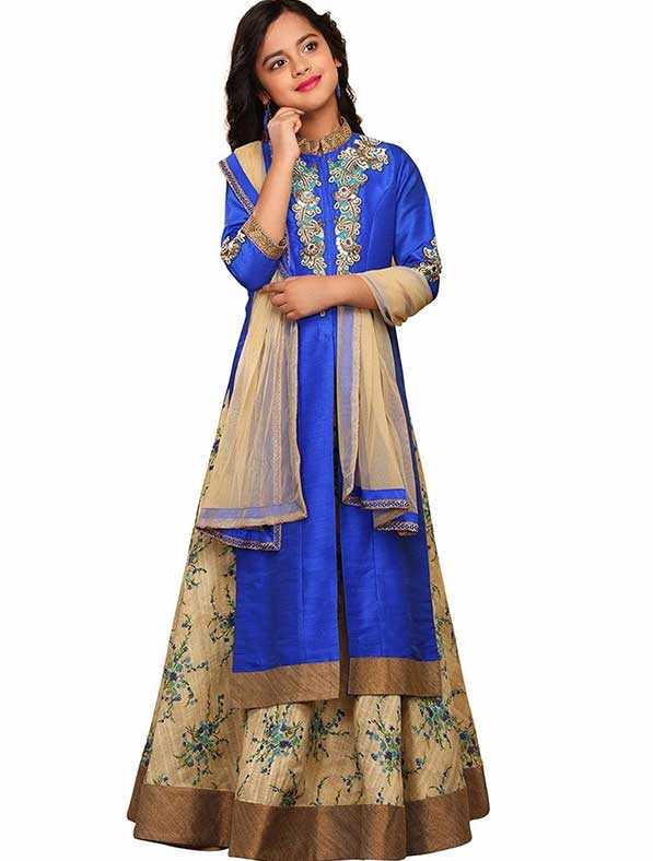 Blue Silk Patch A-Line Girls Gown