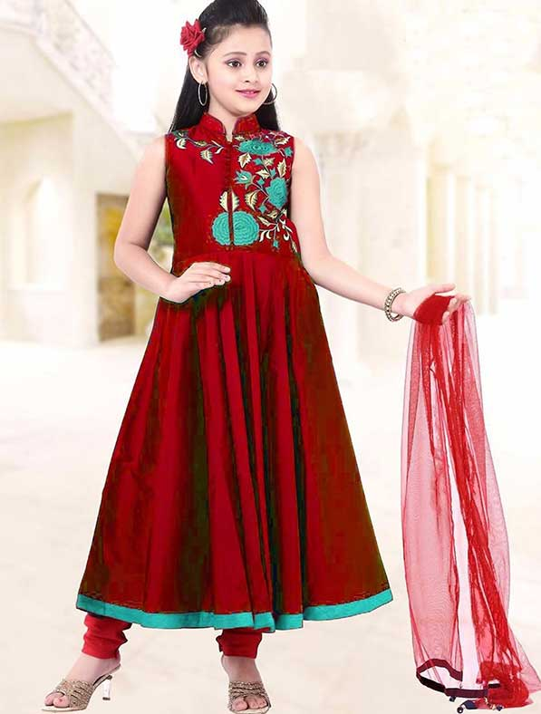 Bright Maroon Kids Salwar Suit