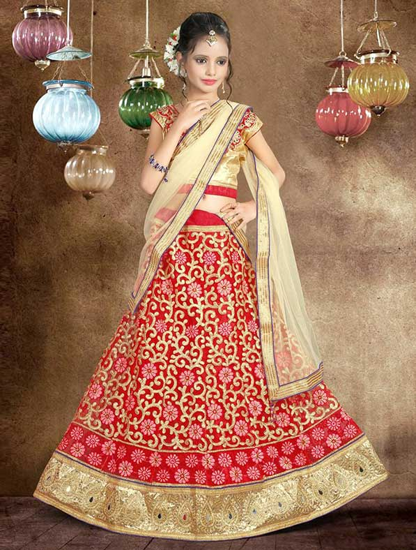 Red Embroidered Net Kids Lehenga Choli