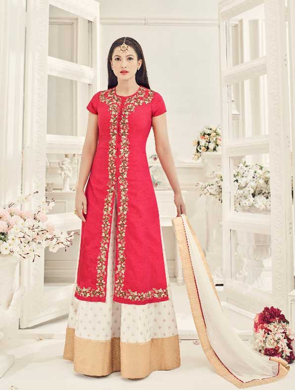 Traditional Designer Embroidered Silk Dress
