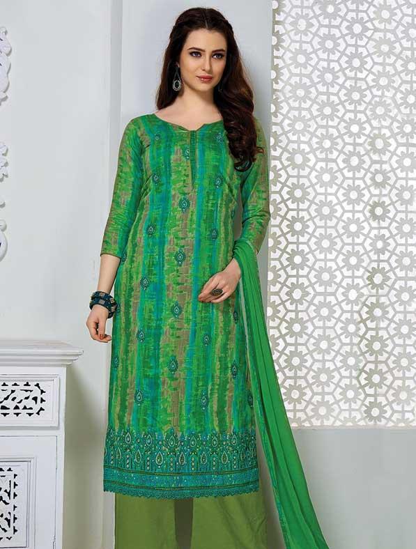 Pure Glace Printed Salwar Kameez